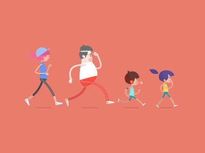 Family Jogging  jogging sports flat design illustration character design