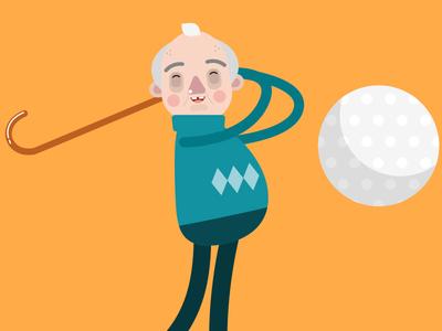 Grandad Golf Swing color flat design character design illustration vector