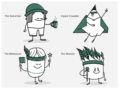 The Idealists cute characters motifs widgets icons 2d character