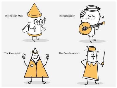 The Romantics ux romantics personalities funny characters yellow 2d