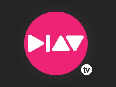 Play tv Logo logo play tv television pink white grey black