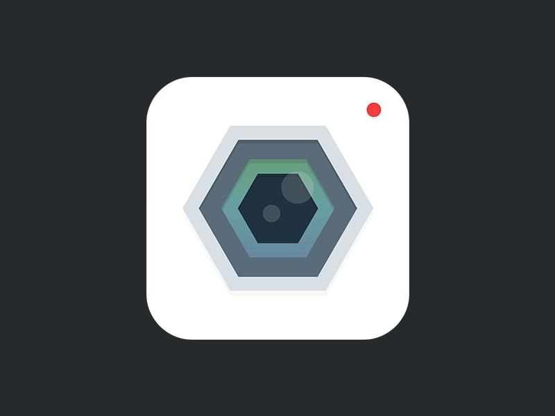 Camera App Icon app ios iphone ipad icon camera video white grey green blue red