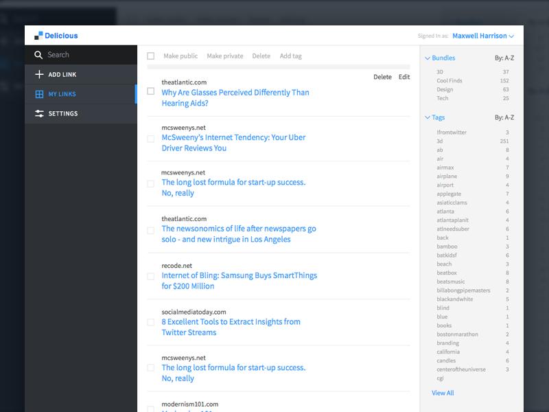 The New Delicious designer design best ux ui dashboard app web