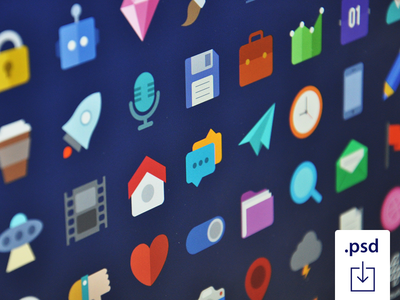 Freebie: Free Flat Icons Set For Download freebie free psd free flat icons flat icons