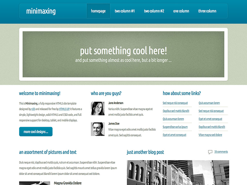 Minimaxing - HTML5 Free Site Template html5 css3 responsive blue green business