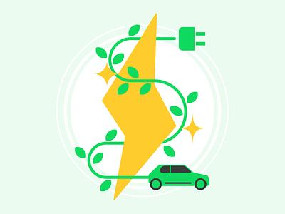 Electric Vehicle illustration earth terra.do social good climate change plug charger car lightning flat illustration electric ev