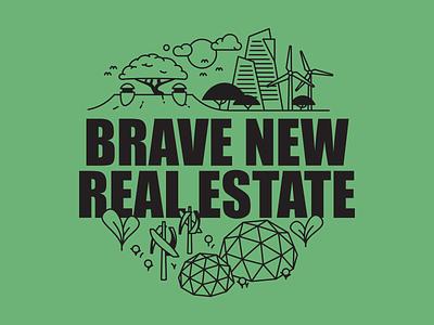 Brave New Real Estate podcast thumbnail system branding monoline futurism wind solar real estate podcast trees design illustration vector flat future solarpunk