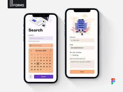 Mobile Forms - Light Mode web design system ui design flat uikit mobile interface ios design ux ui