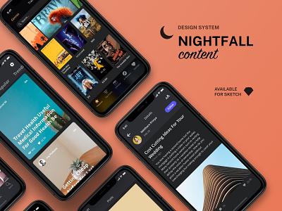 Nightfall Content Refreshment flat uxdesign ui design design system uikit darkmode dark shop sketch mobile design ios app ux ui