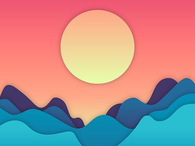 Sun Over The Waves music album warm illustration