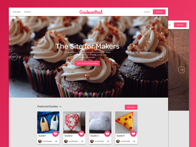 Guidecentral Home Page pink ui