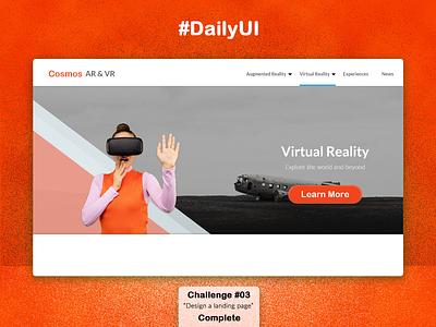 Virtual Reality Landing Page product design user interface adobe photoshop adobe xd minimal design web ux ui