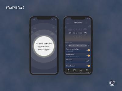 Alarm Settings Design alarm sleep uxui design dailyui user interface product design app adobe xd adobe photoshop ux ui design