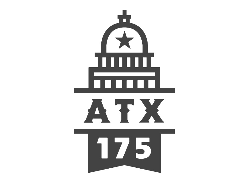 Austin 175 Logo (Runner-Up) austin texas logo austin icon 175 anniversary atx lockup typography