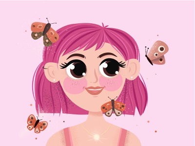 #dtiys dtiys cute character character butterfly illustration vector illustration art girl cuteillustration cute illustration vector art illustrator vector illustration adobe illustrator