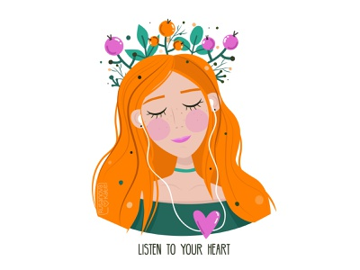 listen to your heart girl illustration girl character girl illustration art illustrations illustration cute illustration vectors vectorart vector art illustrator vector illustration vector adobe illustrator