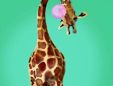 Upsidedown procreate art colorful funky giraffe procreate illustration design hand drawn illustration