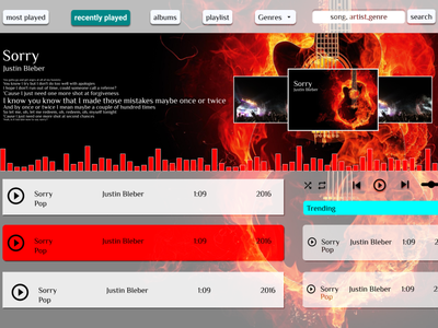 music player desktop music app flat app minimal banner dailyui website web design ux ui