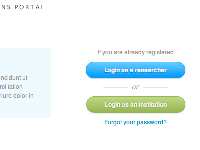 Unusual solutions for unusual problems modal several login forms blue green buttons