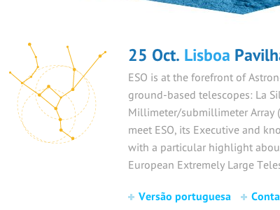 ESO Industry Day #2 illustration constellation typography pt sans yellow blue