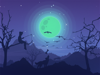 Wolves at night