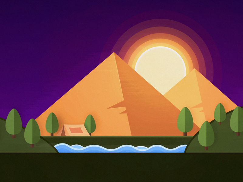 Pyramid at sunset tent illustrator flatart landscape sunset pyramid