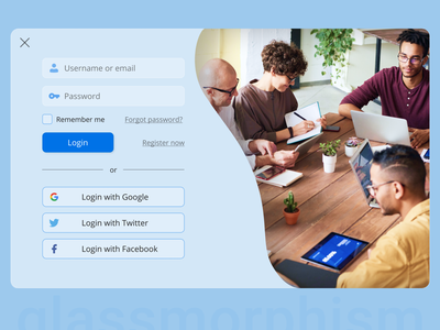 Modal window for Sign In with glassmorphism sign in login modal window blue and white blurred background blur