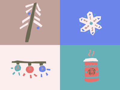 a wintery mix christmas illustration winter starbucks coffee snowflake christmas lights christmas tree