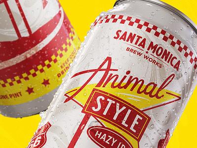 Animal Style | Santa Monica Brew Works animal style santa monica hazy ipa beer coaster coaster beer label design coasters