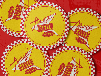 Animal Style | Santa Monica Brew Works animal style santa monica hazy ipa beer coaster coaster beer label design coasters
