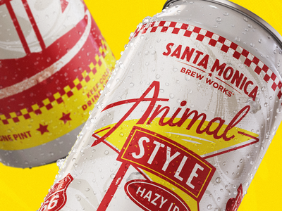 Animal Style | Santa Monica Brew Works santa monica illustration animal style hazy ipa packaging beer label design