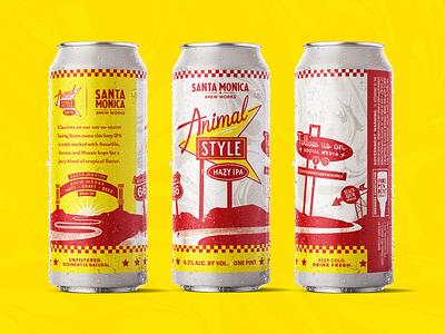 Animal Style   Santa Monica Brew Works santa monica illustration animal style hazy ipa packaging beer label design