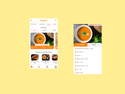 Recipes App first shot uiux chef cook recipes food and drink food food app uidesign recipes app