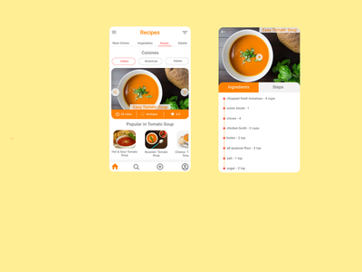 Recipes App typography recipes app design uidesign food app recipes food and drink food cook first shot chef