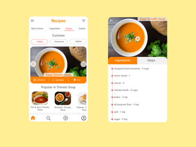 Recipes App design uidesign recipes app recipes food app cook food food and drink first shot chef
