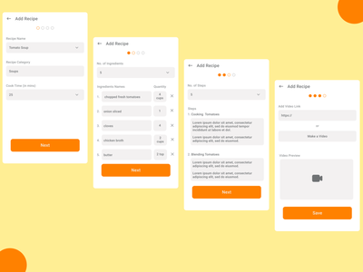 Add Recipe Screens - V2 ux design uxdesign ux uiux typography ui design food app recipes app uidesign
