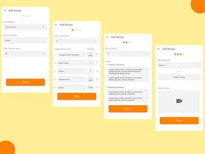 Add Recipe Screens - V2 ux design uxdesign ux uiux typography ui design food app recipes app uidesign