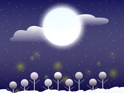 Winter Snowfall illustration moonlight fireflies winter snowfall snowflake snow illustration