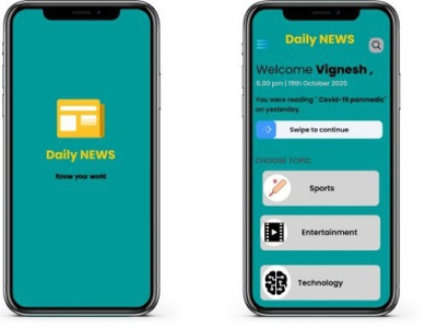 Daily news app design ui ux