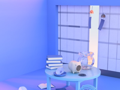 summer day ミニチュア room book flower japanese style illustraion pop render space modeling designs color 3d art 3d