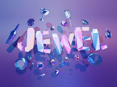 jewel jewelry typography art party logo design typeface typogaphy blender3dart blender 3d ミニチュア pop render modeling designs color 3d art 3d