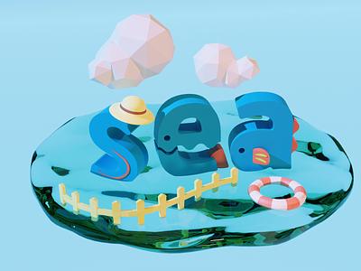 sea texture monster geometic graphic water color sea animal summer logo illustration blender 3d pop modeling 3d art design typogaphy typeface