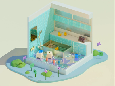 retoro bathroom spaceman render material texture architecture motiongraphics product space setdesign japanese geometric design modeling 3d blender 3d illustration 3d art animation design 3dcg animation
