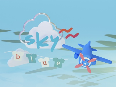 """3D typography """"sky"""" vector render modeling illustration minimal shadow space texture material sky plane logodesign 3d 3d art graphic logo typography"""