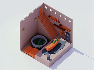 "special room ""lotus"" animation3d space animated animation 3dart 3d motion design illustraion modeling setdesign geometoric isometoric room house interior architecture motiongraphic"