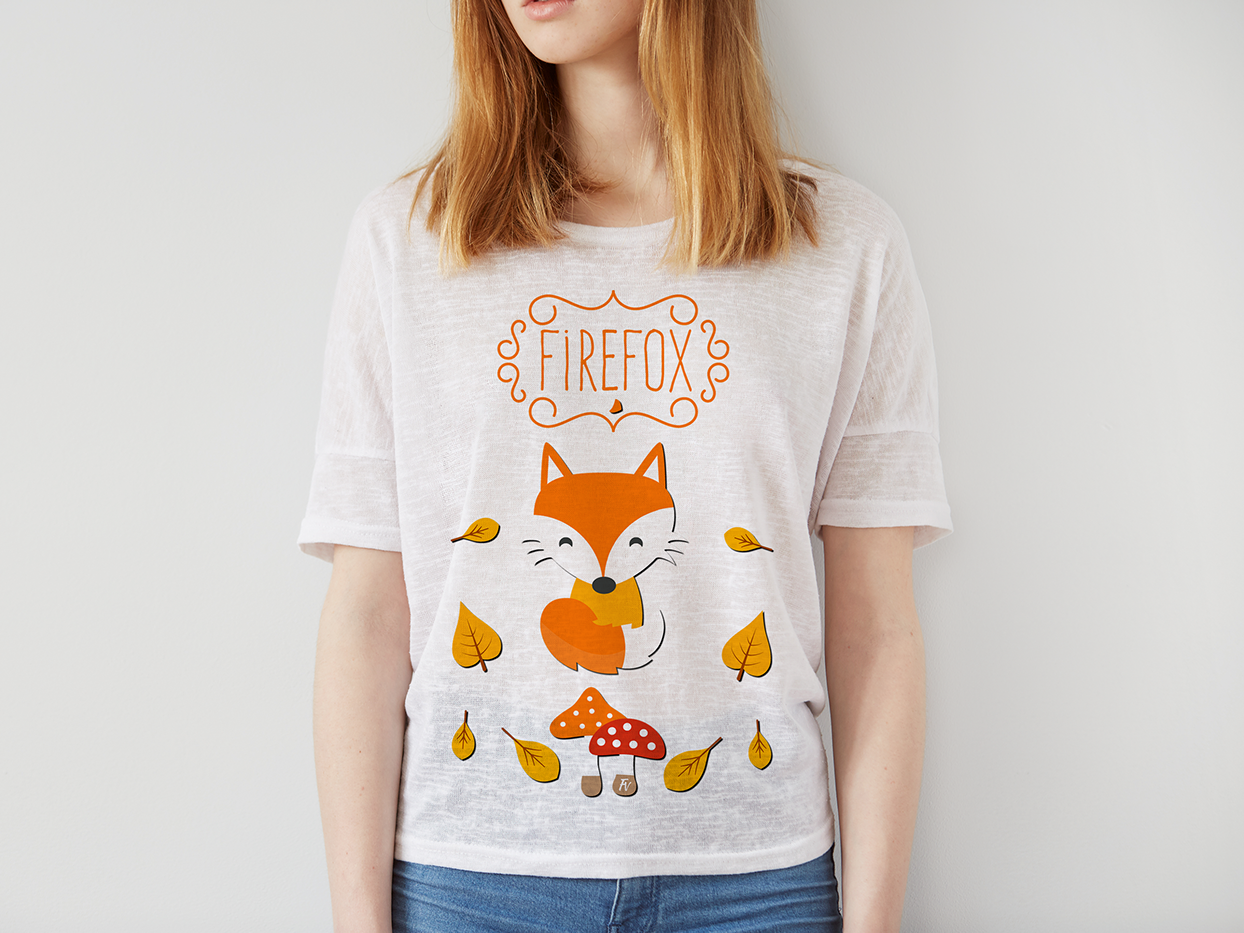 Firefox vector design art flower otoño ilustración illustrator fox