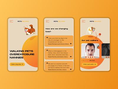 Walking pet website landing website walking pet dog vector ux uidesign illustration app design web graphic design ui