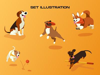 A dogs set illustration website pet dog vector ux uidesign illustration app design web ui