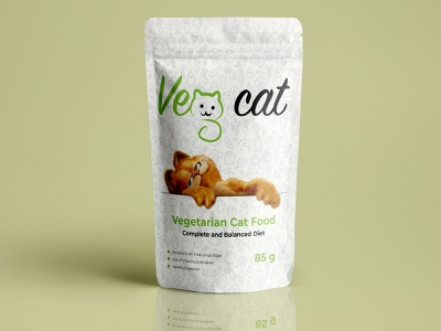 Vegetarian cat food pouch bag packaging design print diet healthy dribbble mockup product food cat vegetarian veg cat design packaging packaging design bag pouch white