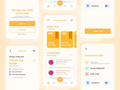 Todo App Design orange task list task manager task management task todo list todoist todolist todo todo app ui  ux clean ui uiux design app ui mobile ui mobile app design ui design simple design